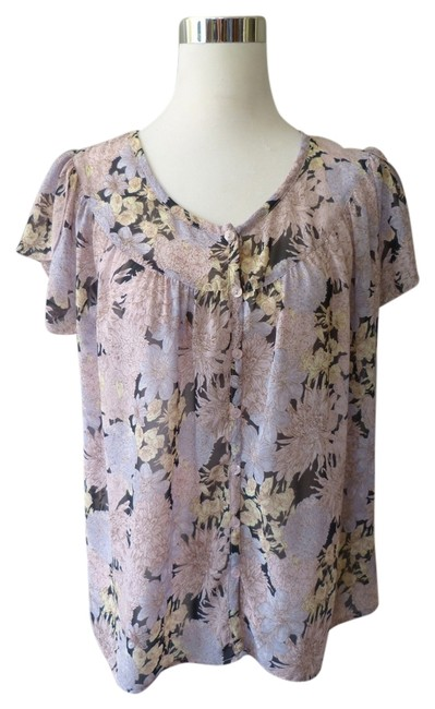 Lux Flowing Scalloped Sleeves Button Down Short Sleeve Top