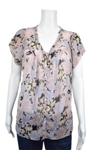 Lux Flowing Scalloped Sleeves Button Down Short Sleeve Top Pink