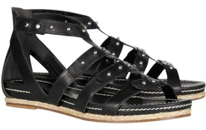 Pour La Victoire Leather Rocker Studded Black Sandals