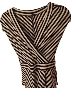bebe And Stripe Top Black & White Stripes
