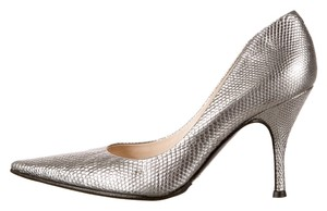 Sergio Rossi Metallic Silver Pointed Toe Trendy Gunmetal Pumps