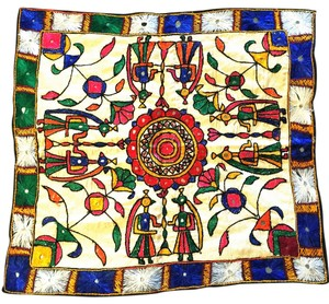 Vintage Embroidered Tapestry; India; Shisha--Mirrorwork [ Roxanne Anjou Closet ]