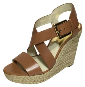 e010ec6a07b Michael Kors Luggage Giovanna Leather Espadrille Wedge Sandal Sneakers Size  US 7.5 Regular (M, B) 43% off retail