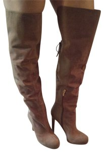 bebe Thigh High Leather Sky High BEIGE Boots