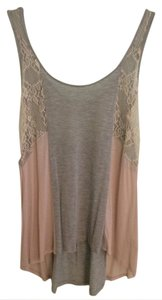 Just Ginger Top grey, pink, cream lace