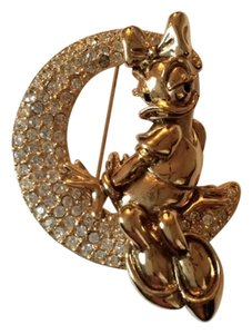 Disney Vintage Daisy Duck Perched on a Crescent Moon Brooch