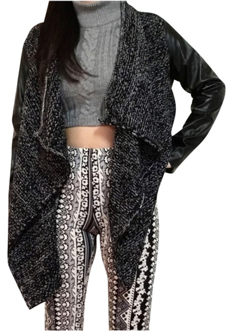 Preload https://img-static.tradesy.com/item/9436939/greyblk-faux-leather-sleeves-knit-waterfall-sweater-cardigan-size-8-m-0-1-650-650.jpg