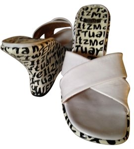 Stuart Weitzman Leather White with Black Lettering Wedges
