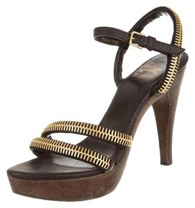 Burberry Couture Summer Spring Fall Black/Gold/Wood Sandals
