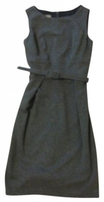 Item - Grey Fitted Belted Knee Length Work/Office Dress Size 6 (S)