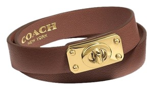 Coach Coach Brown Double Wrap Turnlock Leather Bracelet
