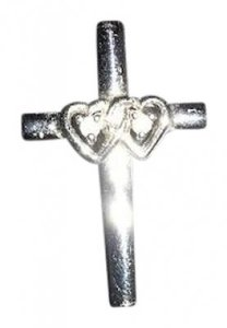 Zales Sterling Silver Double Heart Cross Charm