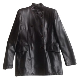 Armani Collezioni dark chocolate brown Leather Jacket
