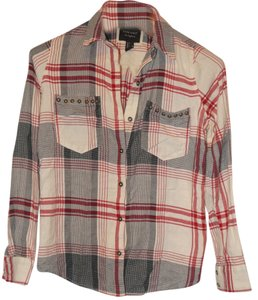 Forever 21 Flannel Studded Button Down Shirt Plaid (Cream/Black/Red)