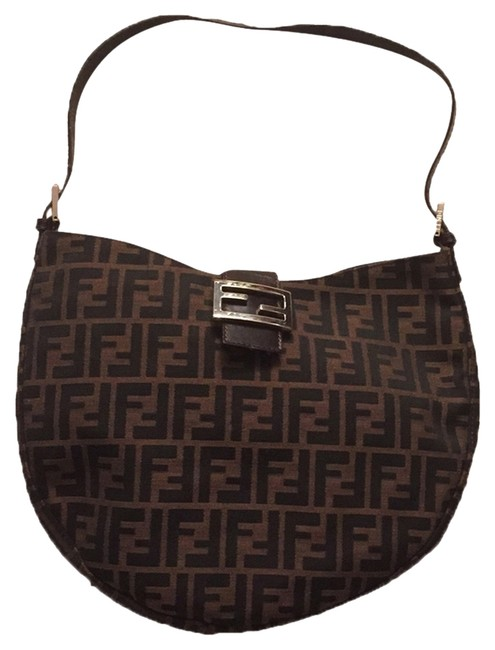 Item - Olive and Black Canvas Zucca Print with Silver Tone Hardware and Brown Leather Trim. Hobo Bag