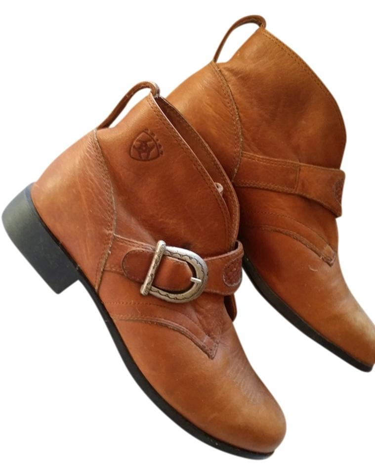 Ariat Brown Buckle Silver Tooled Buckle Brown Leather Ankle Boots/Booties aae4f0
