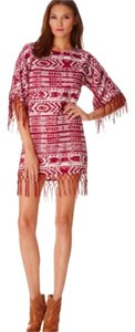Sam Edelman short dress Burgundy print Cheyenne Fringe Beaded Medium Poncho on Tradesy