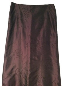 Ann Taylor Maxi Skirt Metalic purple with black beading