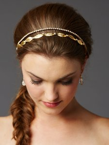 Mariell Gold Leaf And Crystal Garland Wedding Headband