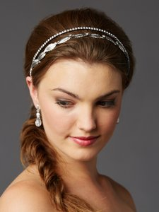 Mariell Silver Leaf And Crystal Garland Wedding Headband