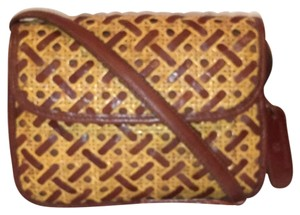 Etienne Aigner Leather Rattan Vintage Cross Body Bag