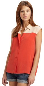 Equipment Two Tone Colorblock Contrast Crepe Silk Button Down Shirt Fiery Red, Nude