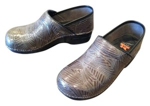 Dansko Professional Tooled Paisley Flower Leather Work Grey Mules