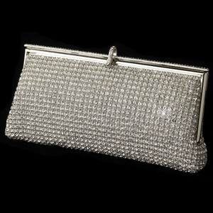 Elegance By Carbonneau Rhinestone Covered Evening Bag Purse In Silver