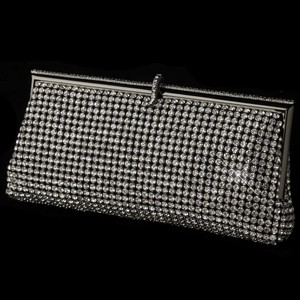 Elegance By Carbonneau Rhinestone Covered Evening Bag Purse In Black
