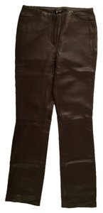 DKNY Leather Fall Autumn Winter Soft Fitted Straight Pants Mink Brown