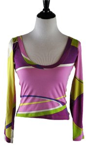 Emilio Pucci Printed Pink Yellow Green Size 8 T Shirt Multi Color