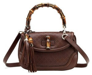Gucci Bamboo Leather Any1g 254584 Satchel in Brown