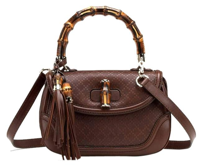 Gucci Bamboo 254884 Diamante Brown Leather Satchel Gucci Bamboo 254884 Diamante Brown Leather Satchel Image 1