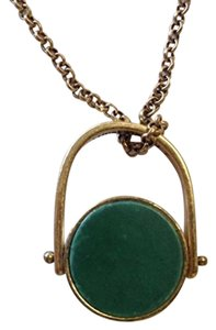 Lucky Brand Lucky Brand Necklace Pendant Gold Tone Accent Green Stone