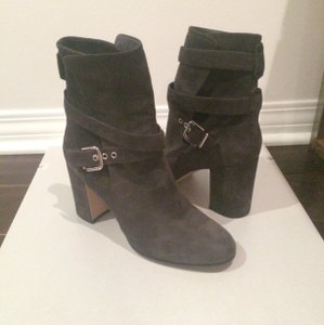 Gianvito Rossi Buckle Suede Leather Silver Grey Boots
