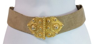 Judith Leiber JUDITH LEIBER GOLDTONE BUCKLE ADJUSTABLE ANIMAL PRINT LEATHER BELT ** UP TO 36.5 INCHES