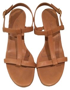 Loro Piana Wooden Wood Heeled Tan Sandals