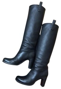 Roberto Del Carlo Pebbled Leather Tall Pull On Black Boots