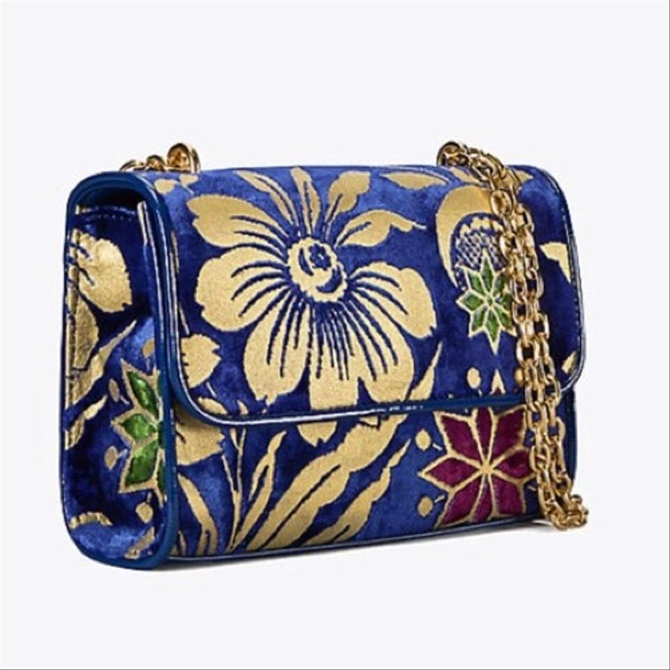 Velvet Convertible Fleming Shoulder Floral Bag Tory Leather Burch Small 5vqwxfERX