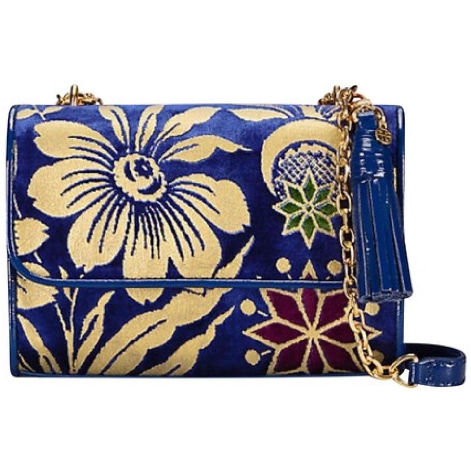 e4318c073c8e Tory Burch Fleming Convertible Small Floral Velvet Leather Shoulder ...