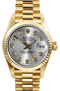 Rolex Rolex Lady Datejust President 18K Yellow Gold Slate Grey Diamond Fluted Watch