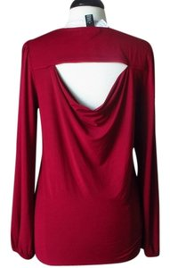 White House | Black Market Drape Knit Top red