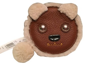 Coach Shearling Coin Case Wristlet in Tan