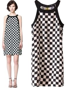 Zara short dress Checkered Black and White on Tradesy