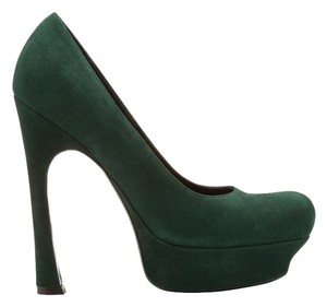 Saint Laurent Leather Round Toe Classic Suede Platform Dark Green Pumps