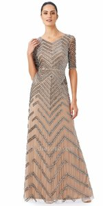 Adrianna Papell Beige Beaded Modern Bridesmaid/Mob Dress Size 8 (M)