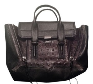 3.1 Phillip Lim New With Tags Leather Turtle-embossed Embossed Satchel in Black and Brown