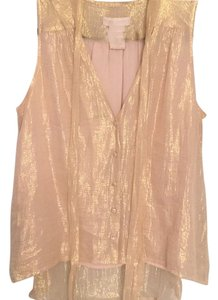 MM Couture Silk V-neck Sleeveless Top gold