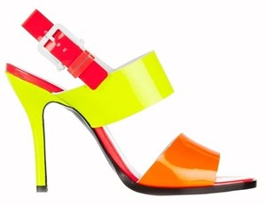 Jil Sander Color-blocking Patent Leather Leather Strappy Buckle Neon Orange/ Pink/ Yellow Sandals