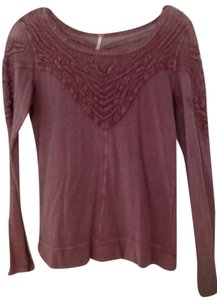 Free People Embroidered Shirt Top Mauve